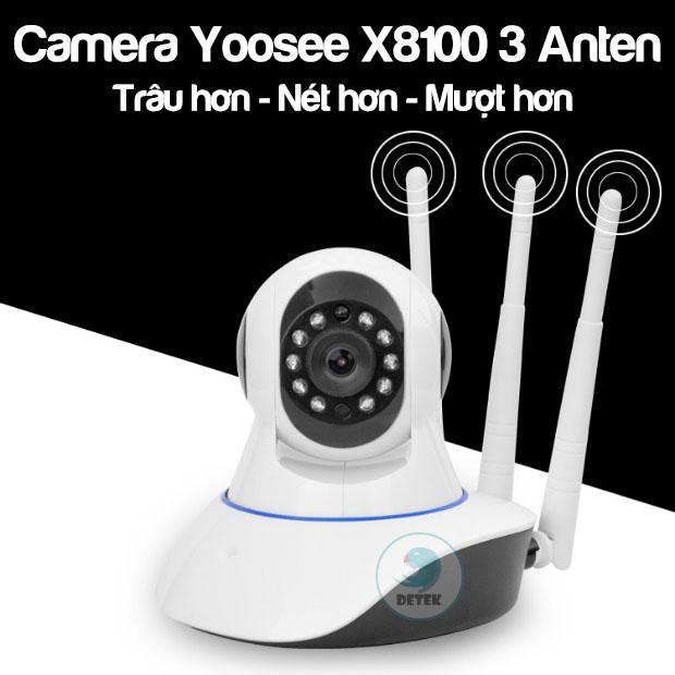 Camera IP xoay 360 độ Yoosee X8100 có 3 ăng ten